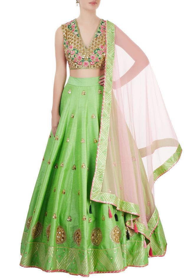 Green & rose pink embroidered lehenga set