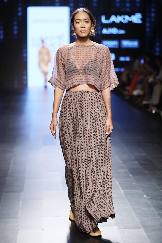 Grey block printed long skirt