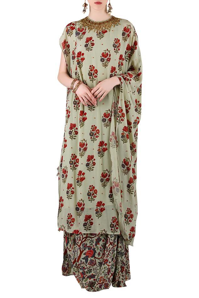 Sage green printed kurta with skirt