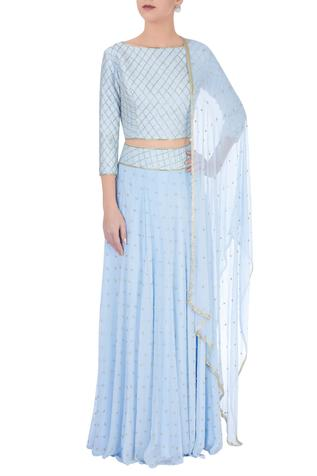 Powder blue embellished lehenga set