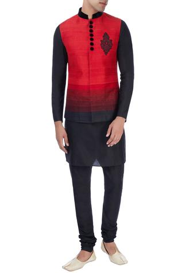 Red & black nehru jacket with kurta & trousers