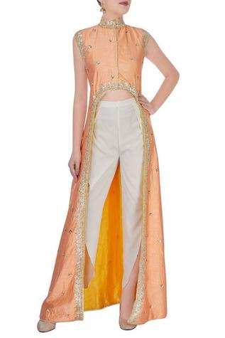 Orange high-low gota embroidered kurta with pants