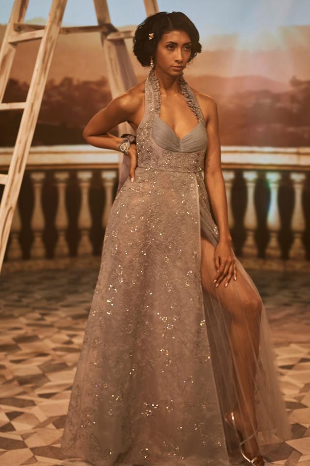 Priscilla Slit Halter Gown