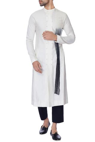 White long chanderi kurta with mesh panel in tie & dye