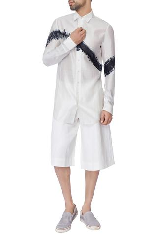 White loose fit silk linen shorts