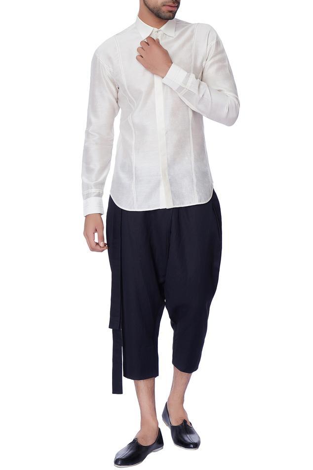 Blue formal chanderi shorts