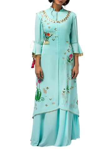 Mint blue georgette asymmetric jacket with gown