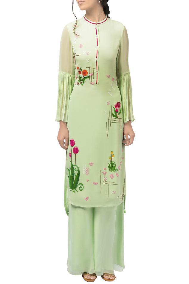 Mint green georgette resham thread embroidered kurta with palazzos