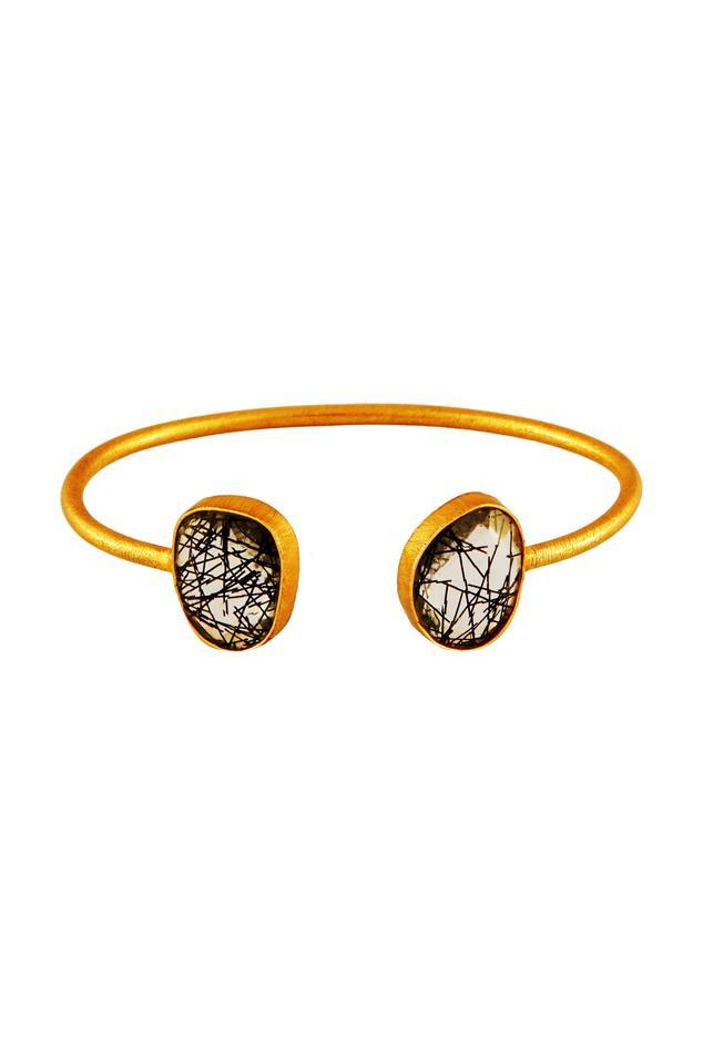 Black stonework cuff bracelet