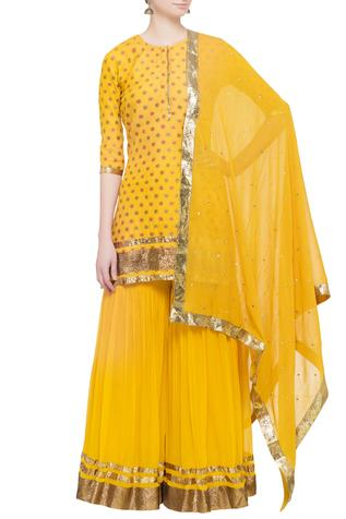 Yellow brocade kurta set