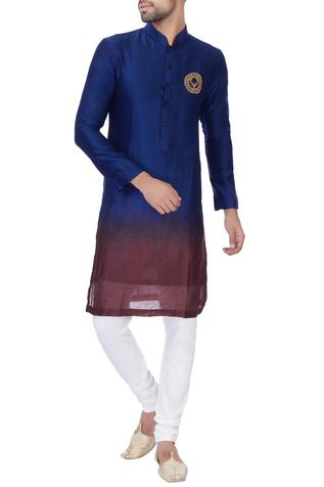 Blue & wine ombre chanderi kurta with churidar