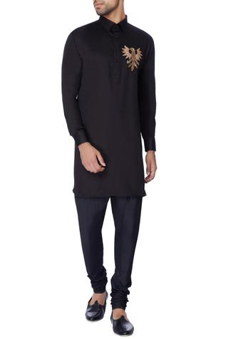 Black embroidered classic kurta