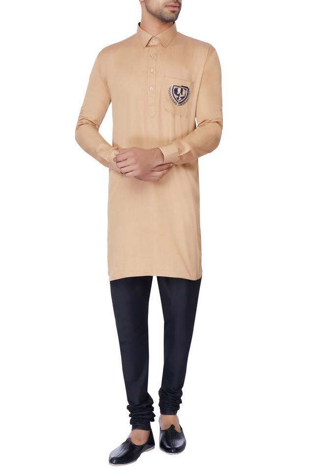 Beige embroidered classic kurta