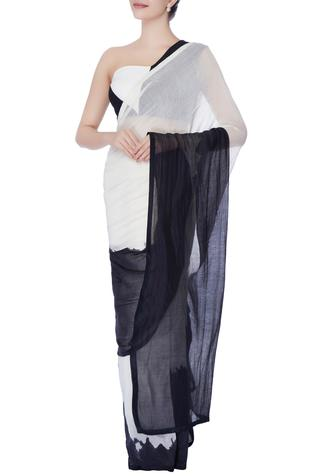 Black & white saree with blouse & under-skirt