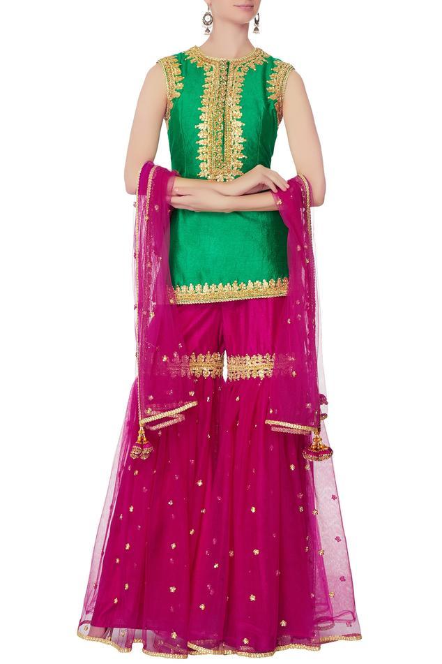 Green gota embroidered kurta set