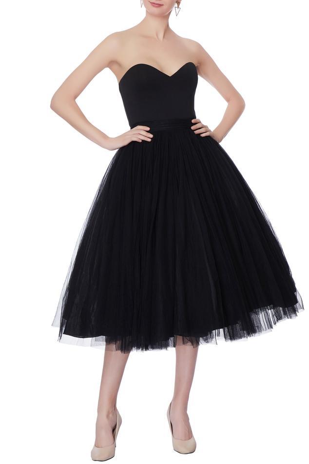 Black net skater dress
