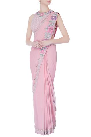Rose pink pre-draped embroidered saree with blouse