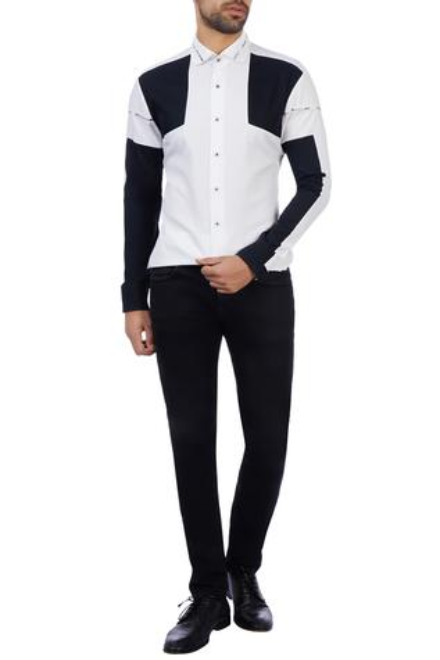 Black & white cotton color-blocked shirt