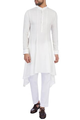 White modal satin solid kurta and pant set