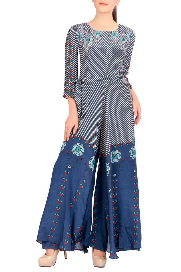 Blue printed Crepe jumpsuit