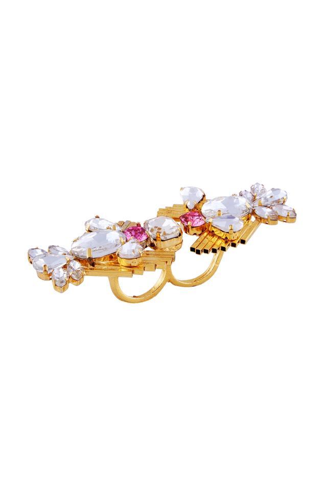 White & pink swarovski two-finger ring