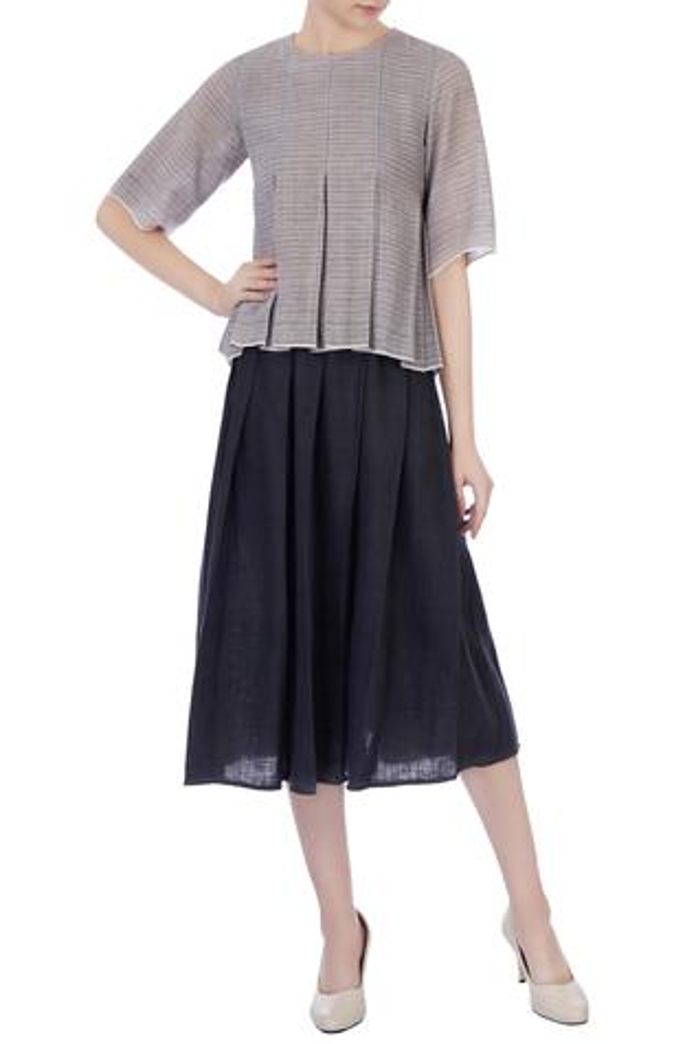 Grey handwoven organic cotton shirt & pleated skirt