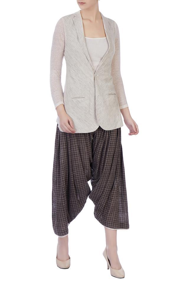 Grey hand-woven organic cotton jacket & patiala pants