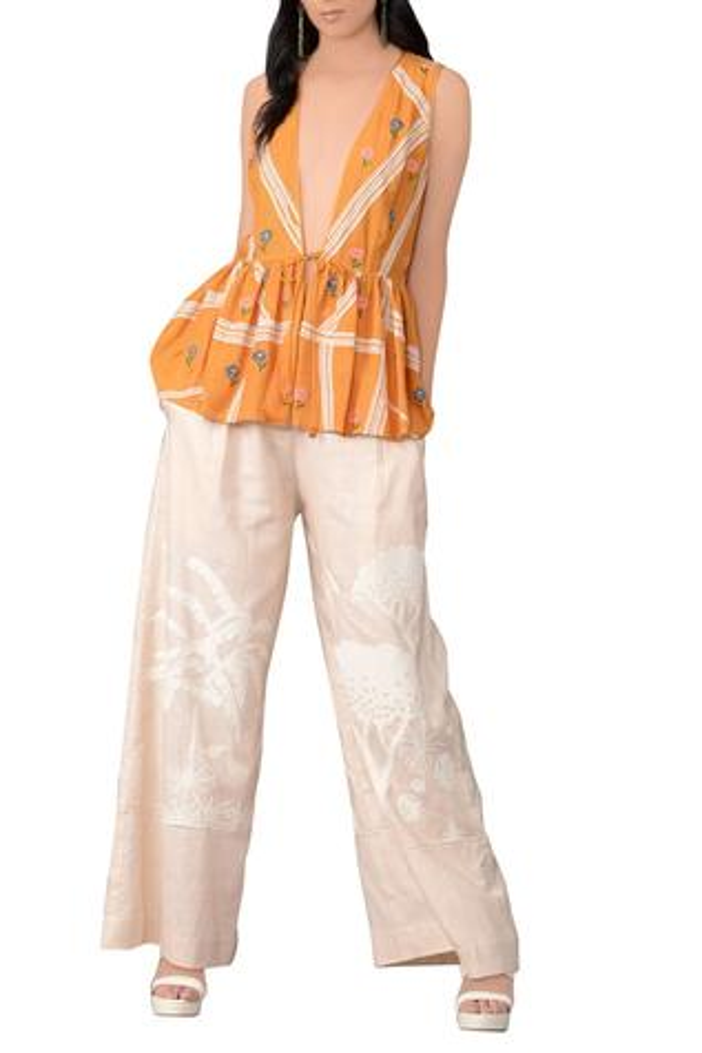 Tangerine orange three-dimensional embroidered jacket
