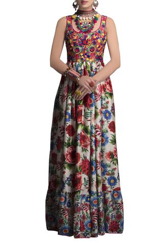 Multicolored embroidered & printed gown