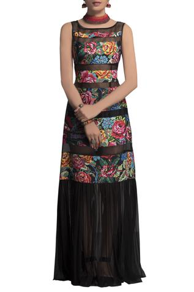 Black chanderi printed gown