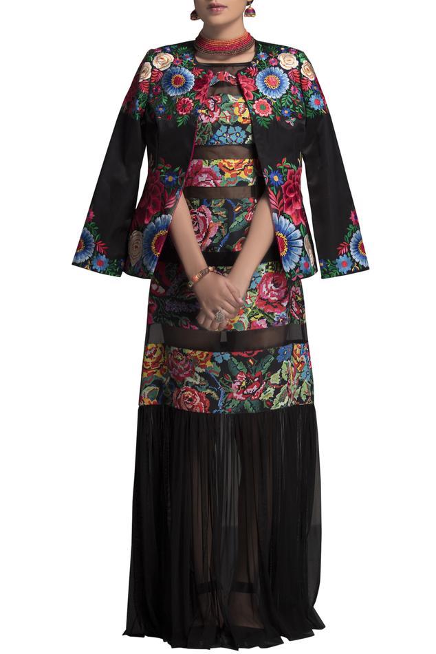 Multicolored taffeta short jacket