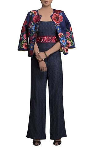 Blue jumpsuit with printed jacket
