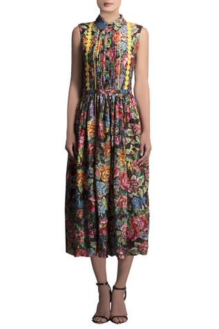 Chanderi Floral Printed Dress