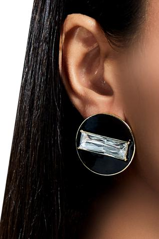 Shivan & Narresh black enamel stud earrings