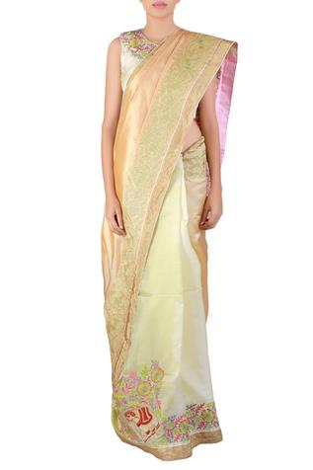 Multi-color thread work kora silk saree with blouse