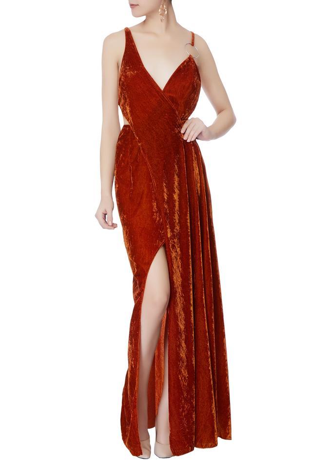 Velvet Slit Gown