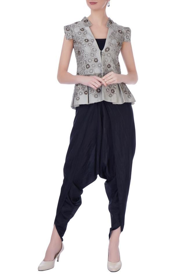 Silk Jacket & Dhoti Pant Set