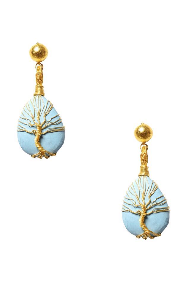 Turquoise stone tree-of-life earrings