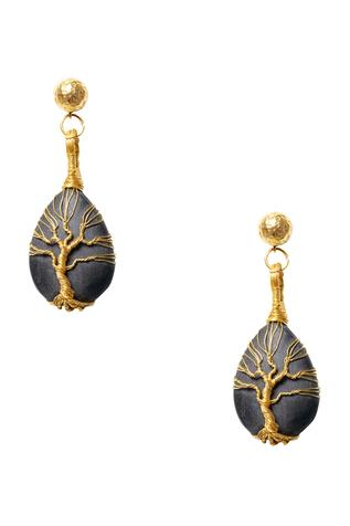 Black onyx gold plated earrings