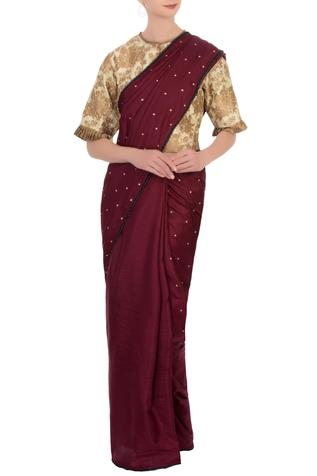 Beige & aubergine silk brocade saree with blouse