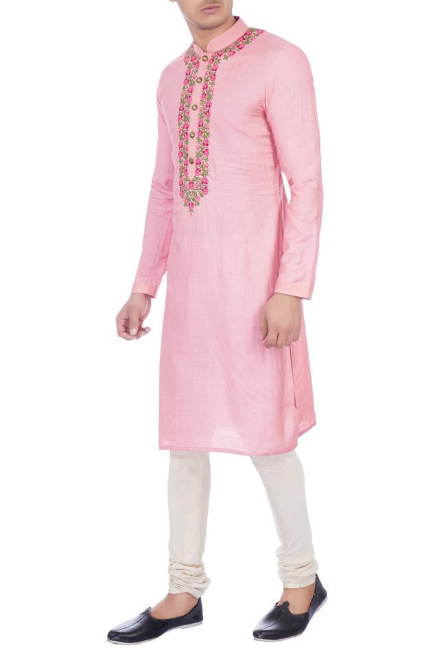 Pink muga silk embroidered kurta