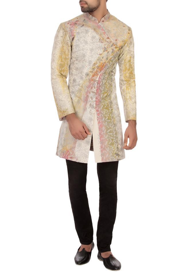 Off white cotton embroidered angrakha kurta set