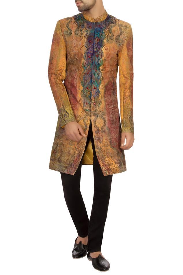 Yellow & rust cotton hand painted sherwani set