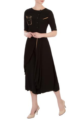 Black double georgette embroidered asymmetric blouse with pants