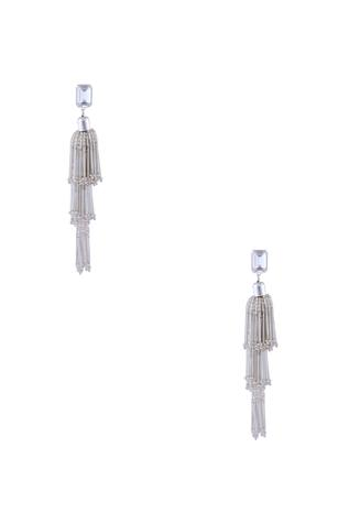 Silver gold polished & swarosvski crystal earrings