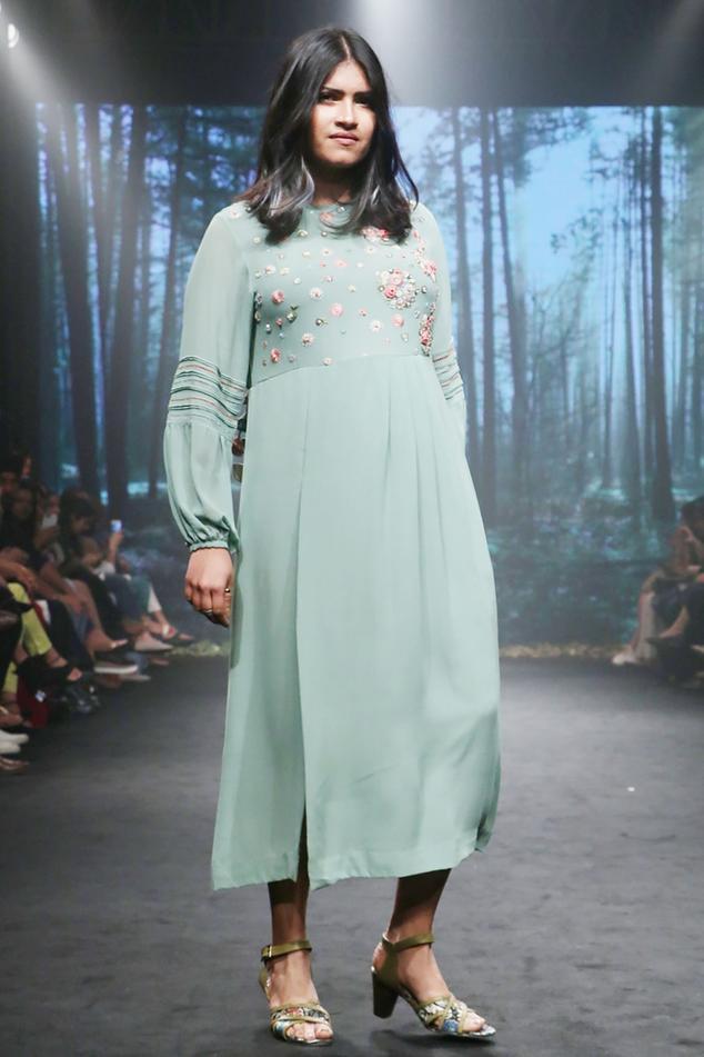 Sage green silk georgette embriodered dress
