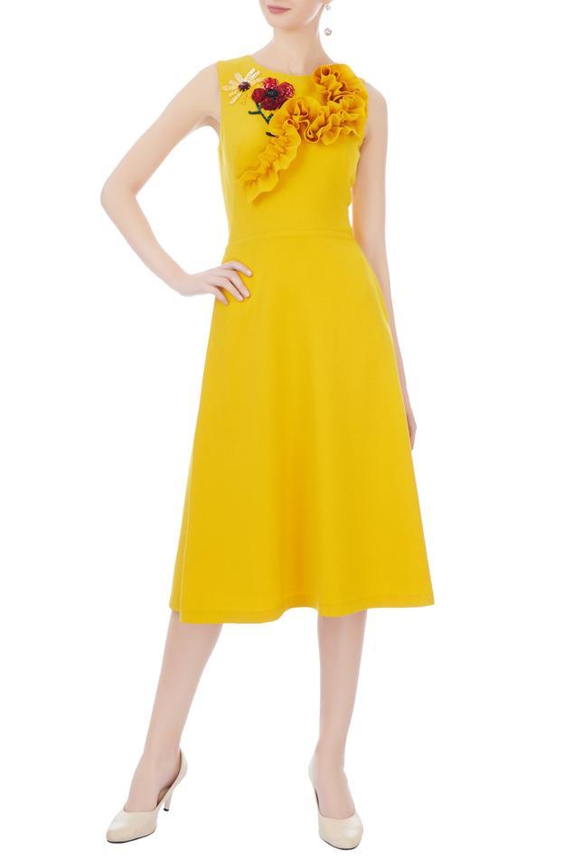 Yellow micro embroidered midi dress