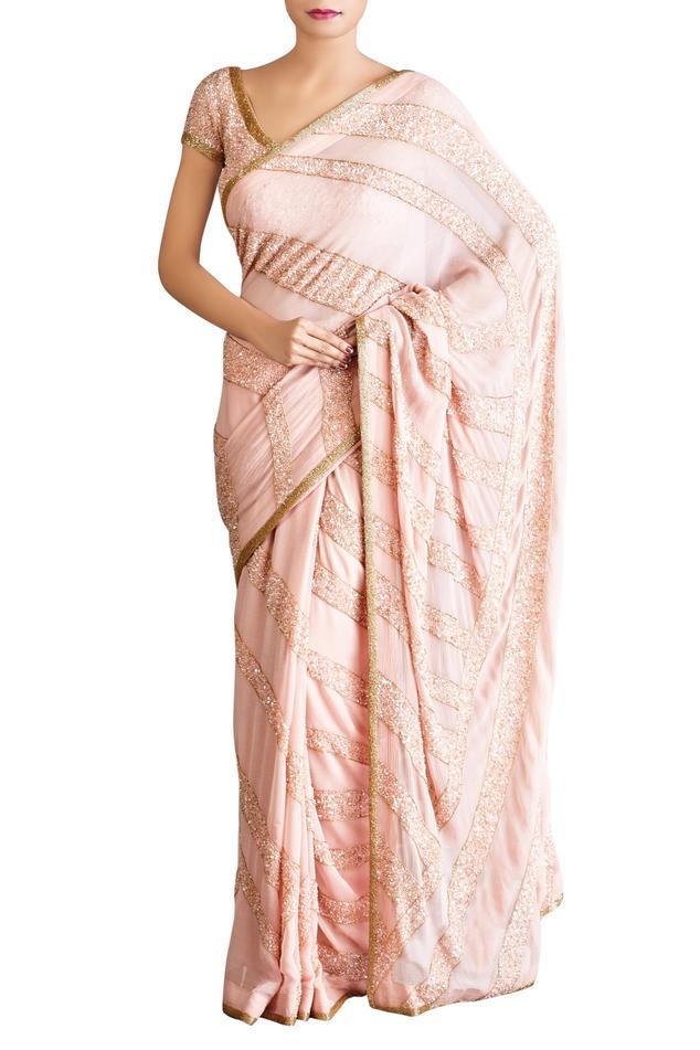 Pastel pink stripe motif sequin saree with blouse