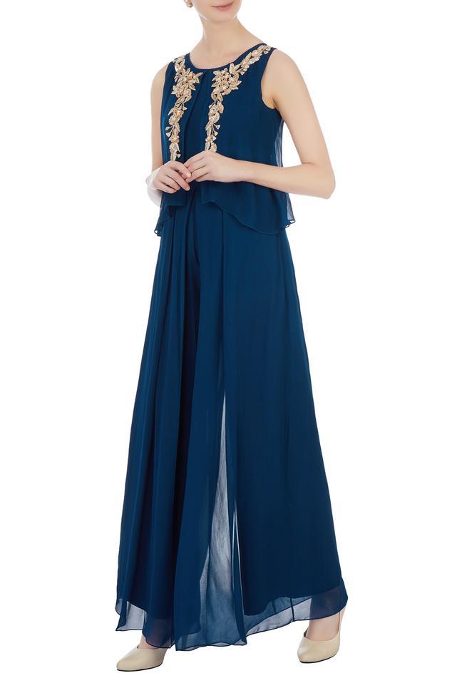 Navy blue cape style georgette jumpsuit