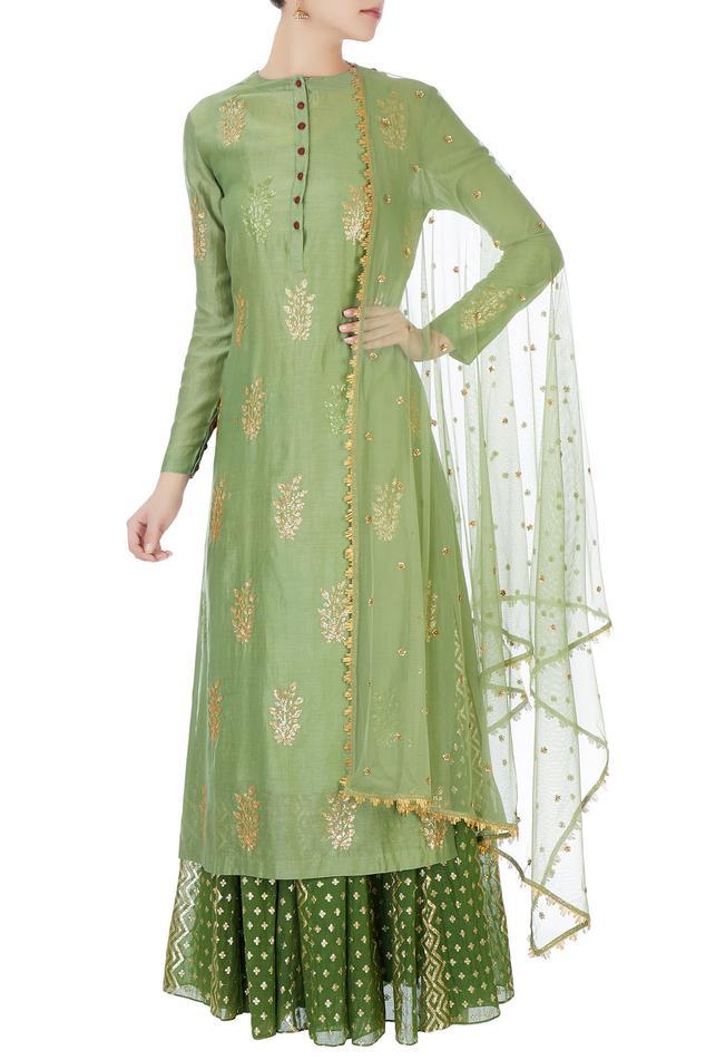 Green sequin kurta with skirt & net dupatta